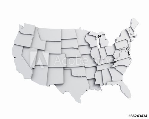 Map Of America 3d Vector.3d Usa Map White Map America Illustration Travel World