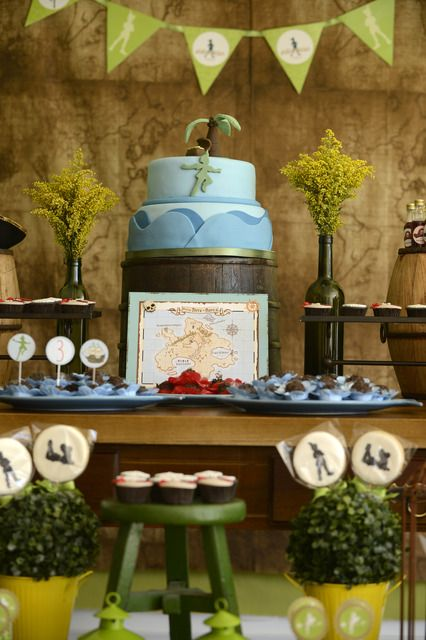 Awesome cake at a Peter Pan boy birthday party!  See more party ideas at CatchMyParty.com!