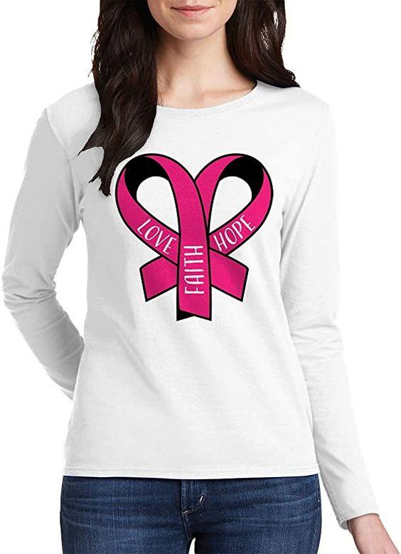 Amazon.com: Threadrock Women's Motivational Breast Cancer Ribbon Heart Long Sleeve T-Shirt: Clothing