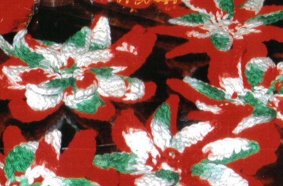 Crocheted poinsetta flower for Christmas, great stocking stuffer!