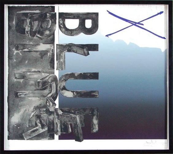 "Jasper Johns, FRAGMENT - ACCORDING TO WHAT, BENT ""BLUE"" 1971"