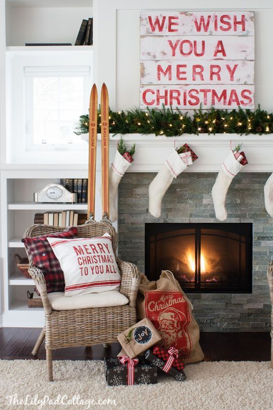 We Wish You A Merry Christmas Christmas Mantel | The Lilypad Cottage