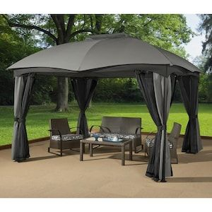 Sojag Phuket Grey Metal Rectangle Screened Gazebo Exterior 12 Ft X 10 Ft Foundation 11 22 Ft X 9 31 Ft Lowes Com In 2020 Gazebo Screened Gazebo Gazebo Tent