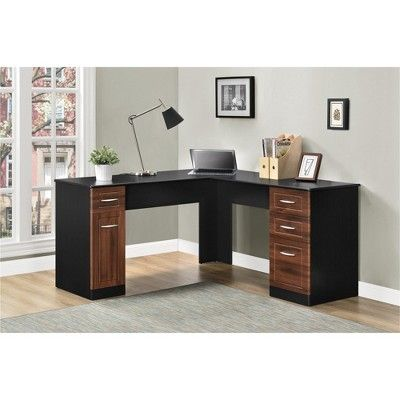 Borden L Desk Cherry Black Room Joy Red Black L Desk Desk L Shaped Desk