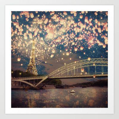 Love+Wish+Lanterns+over+Paris+Art+Print+by+Paula+Belle+Flores+-+$20.00