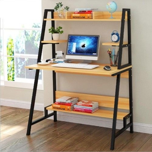 Wood Computer Desk Pc Laptop Table Shelf Stand Organizer Workstation Home Office Nature Wood Computer Desk Pc Desk Table Shelves