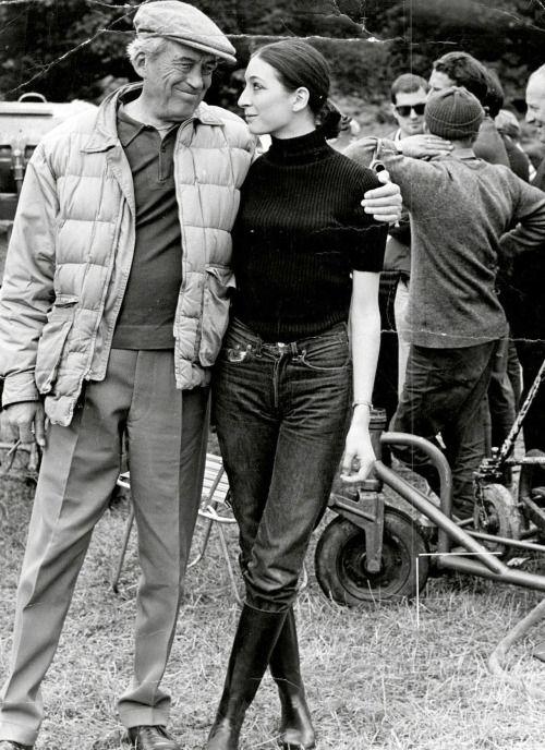 Anjelica Huston at sixteen. with her father, John Huston ~ 1967: