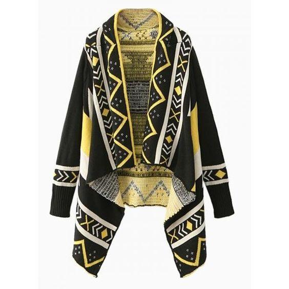 Black Contrast Color Geometric Pattern Asymmetric Hem Knit Cardigans (¥5,295) ❤ liked on Polyvore featuring tops, cardigans, black knit cardigan, black cardigan, knit cardigan, geometric tops and asymmetrical hem top