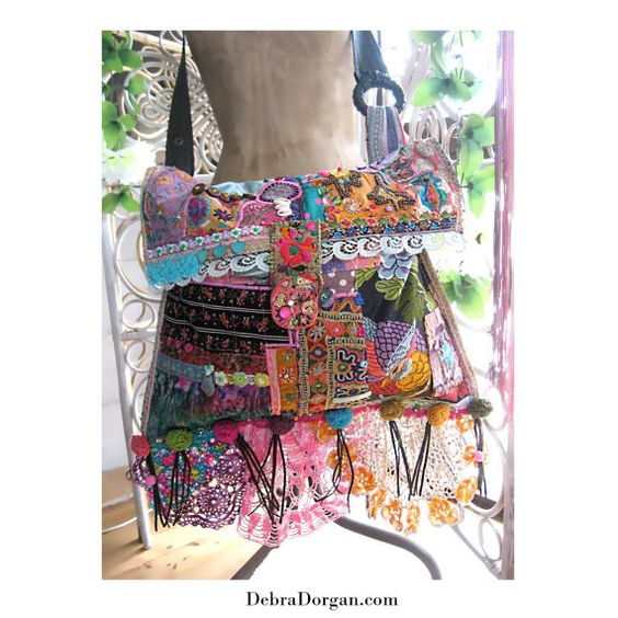 RESERVED for sjlingnerThe Mekong, Bag, Antique Embroidery, Pink, Blue, Purple, Patchwork, Cross Body, Bohemian Gypsy
