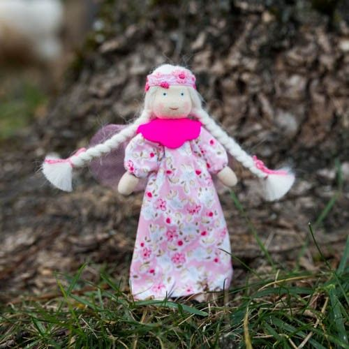 Waldorf Rose Flower Fairy Doll. Cotton and wool. Posable and bendable with wire body!