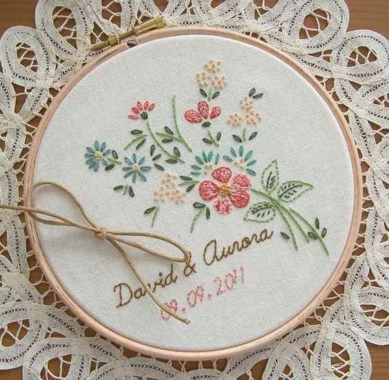 Vintage embroidery hoop art ring bearer pillow alternative