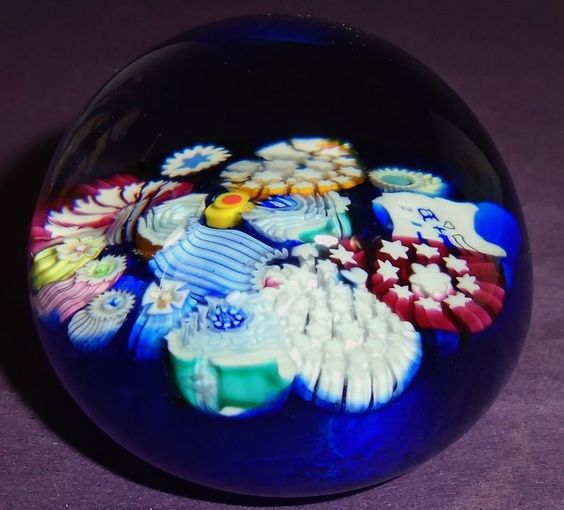 """PERTHSHIRE CRIEFF SCOTLAND BLUE """"END OF DAY MILLEFIORI"""" PAPERWEIGHT"""