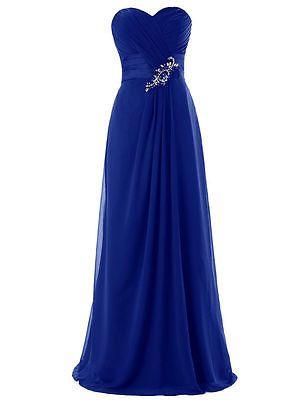 New Royal Blue Plus Size Chiffon Wedding Bridesmaid Dress ...