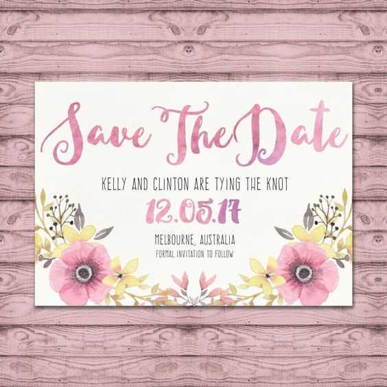 Watercolour Wedding Save The Date Cards - Print at Home File or Printed Invitations - Desert Flower Save The Date - Floral Romantic Pink by PaperCrushAus on Etsy