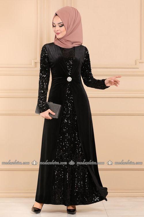 Modaselvim Abiye Broslu Kadife Tesettur Abiye 3123ab368 Siyah Moda Stilleri Elbise Elbise Modelleri