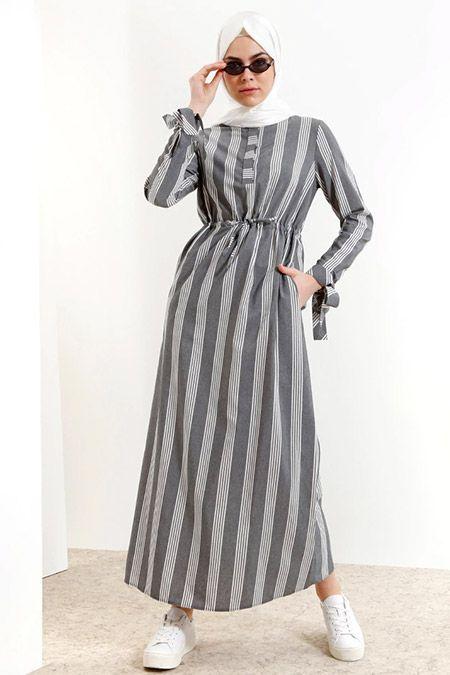 Refka Siyah Cizgili Elbise Cizgili Elbise Elbise Elbise Modelleri