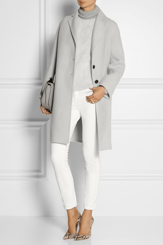 MARC JACOBS Alpaca and wool-blend coat $1,900 EDITORS' NOTES & DETAILS Give your outerwear a modern refresh with Marc Jacobs' alpaca and wool-blend coat. In an on-trend light-gray hue, this mid-weight design has a loose fit, flap pockets and a back vent. Work yours with a two-tone sweater and white jeans.: