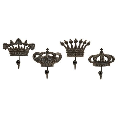 Stow coats and hats in your entryway or mudroom with this charming wall hook set, showcasing crown silhouettes and an antique brown finish.