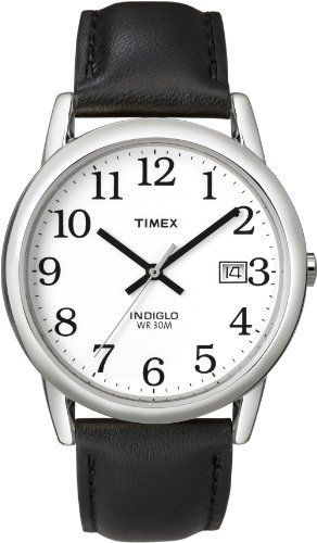 Timex Men's T2H281 Easy Reader Black Leather Strap Silver-Tone Case Watch: http://www.amazon.com/Timex-T2H281-Reader-Leather-Silver-Tone/dp/B000AYYIYU/?tag=vietrafun-20