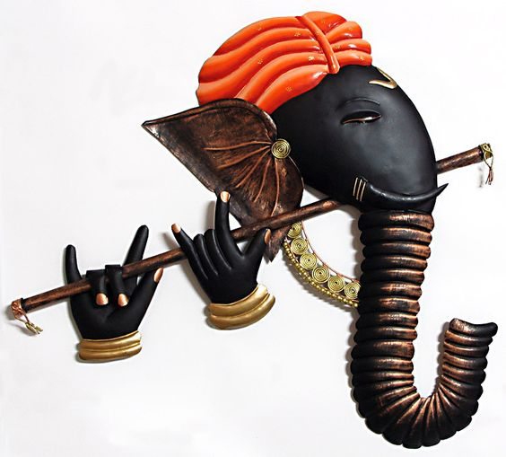 Murlidhar Ganesha - Iron Craft Wall Hanging for Home Decor
