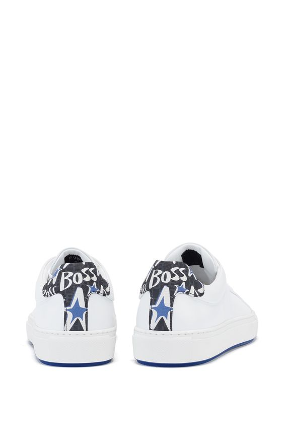 BOSS - Leather trainers with backtab star artwork