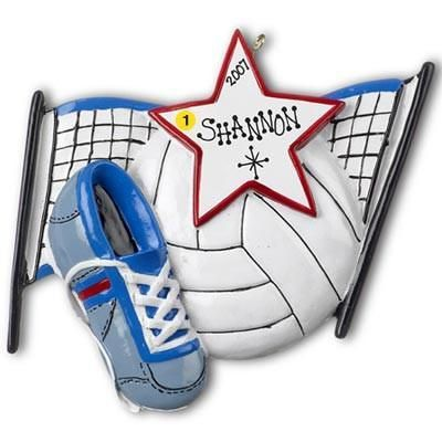 Volleyball Net and Ball Personalized Christmas Ornament