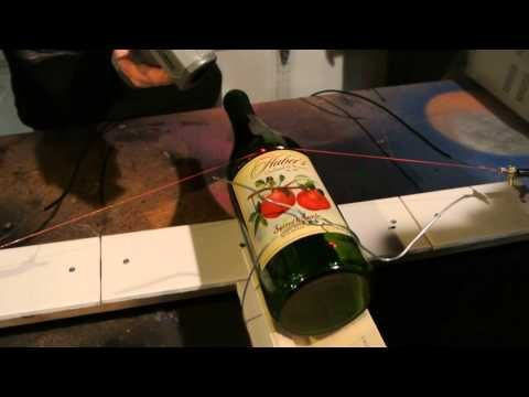 how to cut a hole in a wine bottle