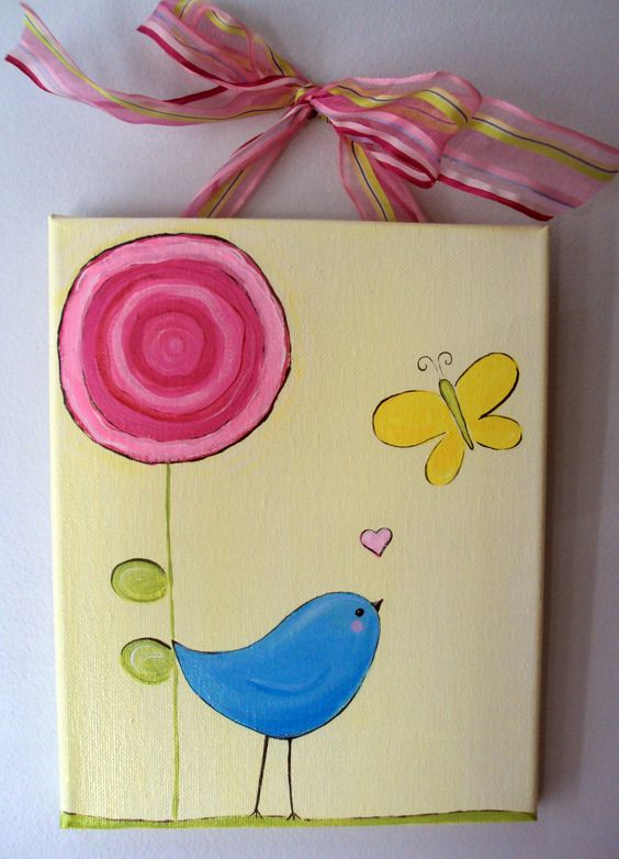 Super Easy Peasy Spring bird flower butterfly canvas | Art ...