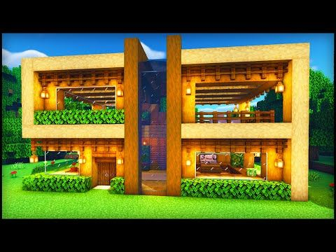 Minecraft Wooden Modern House How To Build A Cool Modern House Tutorial Youtube In 2020 Minecraft Houses Survival Minecraft Wooden House Minecraft Modern