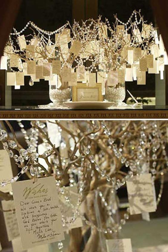 tree… what a beautiful way to add décor to your reception! Ask guests to write a wish for the two of you on a piece of paper and hang it on the tree. After the reception, you can compile all of your wishes into a keepsake!