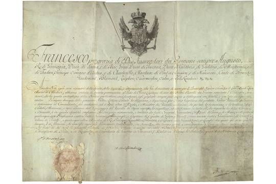 Francis I, Holy Roman-German Emperor (1708-65). Instrument appointing Luca Maria de Medici. Certificate in italy. Language on parchment. Vienna, June 17, 1750.