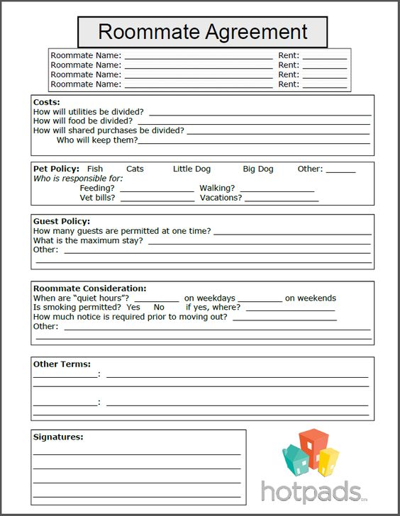 Roommate Agreement Form Printable Agreement Pinterest - roommate agreement form