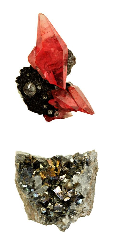 rhodochrosite from peru and arsenopyrite with quartz from mexico