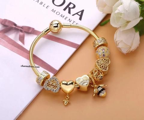 Butterfly Charms Pink Flower Gold Plated Charm Bracelet