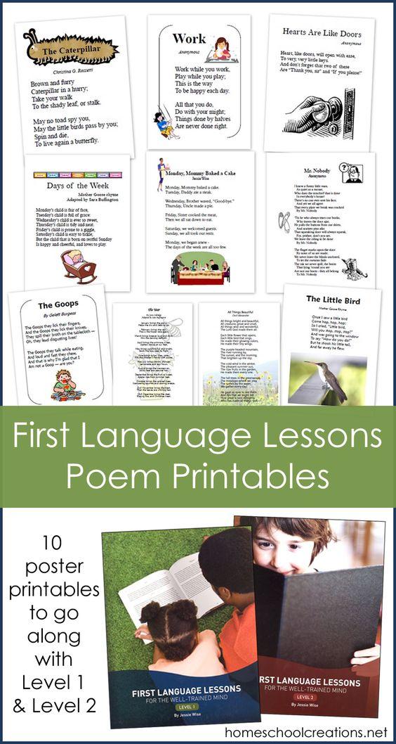 First Language Lessons Poem Printables