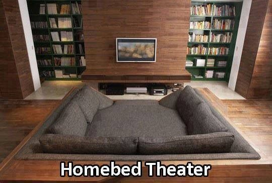 The TV should be much larger, but if you have the extra space...a homebed theatre sounds wonderfully comfy unless you eat popcorn in bed :)