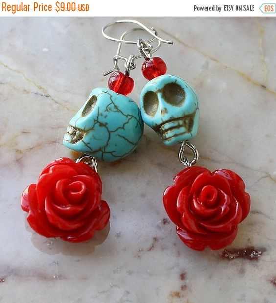 ON SALE Day of the Dead Dia de los Muertos Frida Señorita Red Rose Turquoise Skull Dangle Hypoallergenic Earrings