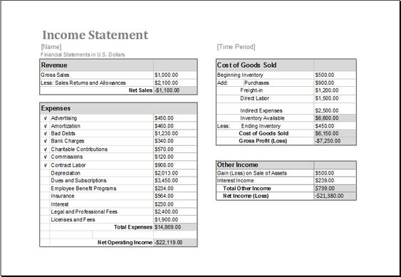 income statement template download at    wwwxltemplatesorg - billing statement
