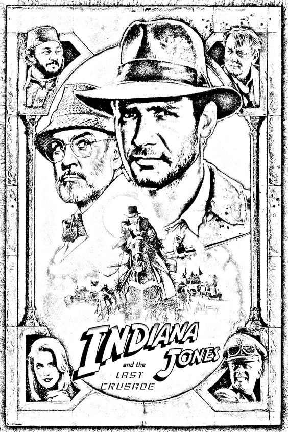 Icons be d and printers on pinterest for Indiana jones coloring pages