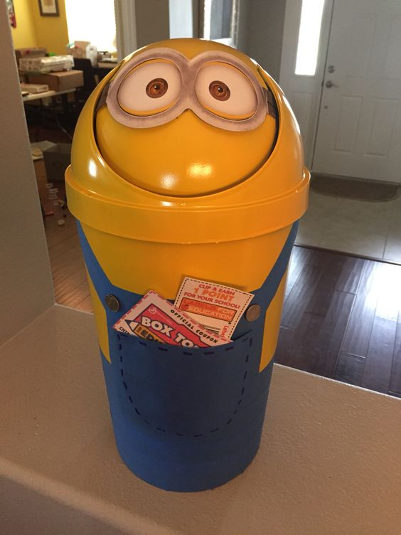 Minion themed Box Tops and Labels for Education collection bin.