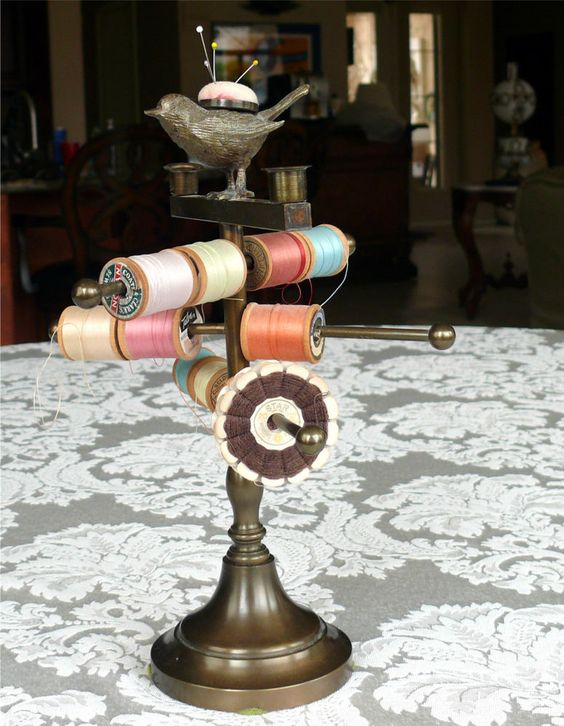 Victorian Brass Revolving Thread Spool Holder Stand w/ Bird Pincushion Sewing: