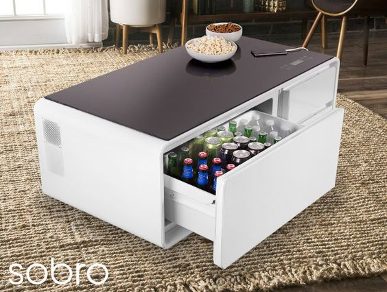Sobro A Coffee Table With Fridge Bluetooth Speakers Led Lights