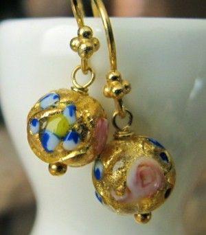 Earrings Murano Glass Fiorato Bead Dangle Gold Foil by mhandmade