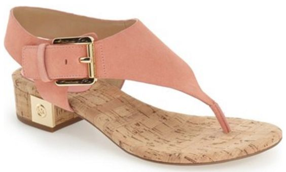 Peach Suede, Cork, and Gold Heeled Thong Sandal