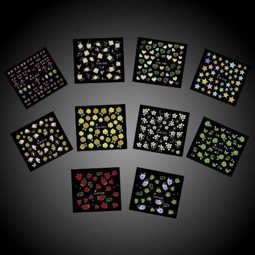 BMC Mixed Design 3D DIY Glow in the Dark Nail Polish Art Decorative Pattern Decal Stickers-10pc Multicolor Set b.m.c http://www.amazon.com/dp/B00H04A1KS/ref=cm_sw_r_pi_dp_qP3Cvb16DEES5