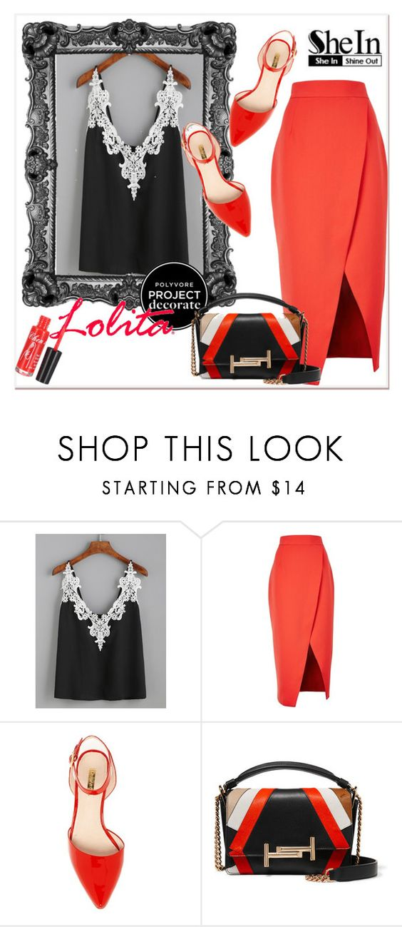 """""""Black Embroidered Lace Top"""" by pavicmartina ❤ liked on Polyvore featuring C/MEO COLLECTIVE and Tod's"""