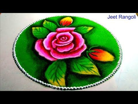 Happy Makarsankranti Easy And Beautiful Rose Rangoli With Shading Youtube Rangoli Designs Diwali Rangoli Designs Flower Small Rangoli Design