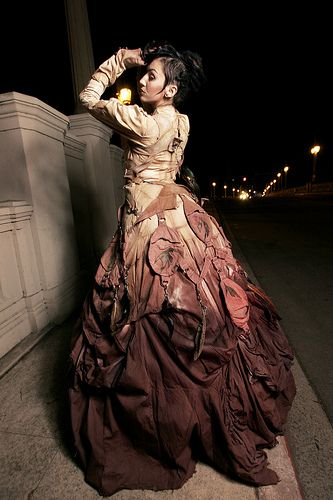Steampunk Victorian Gown with ombre dye technique