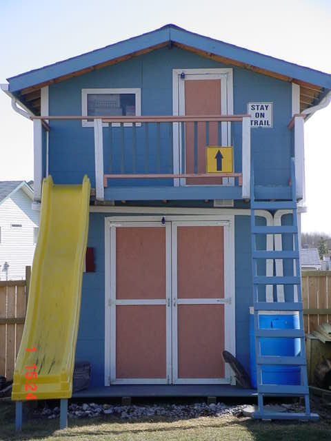 Shed playhouse in backyard the out pinterest gardens for Storage shed playhouse combo plans