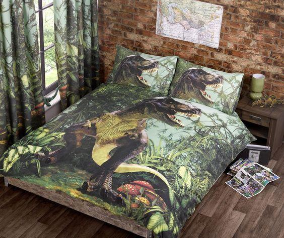 Dinosaur World 66 X 54 Lined Curtains Tie Backs: Jurassic World Bedding Trend T Rex Dinosaur Quilt Duvet